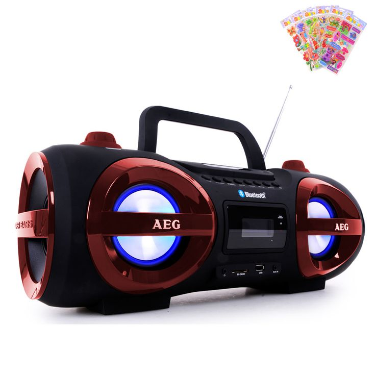 Stereo Ghettoblaster CD MP3 Player Bluetooth USB SD with puffy stickers – Bild 1