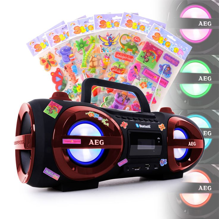 Stereo Ghettoblaster CD MP3 Player Bluetooth USB SD with puffy stickers – Bild 2