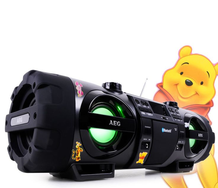 Stereoanlage Soundbox Ghettoblaster Boombox CD MP3 Bluetooth Radio mit Winnie Pooh Sticker – Bild 1