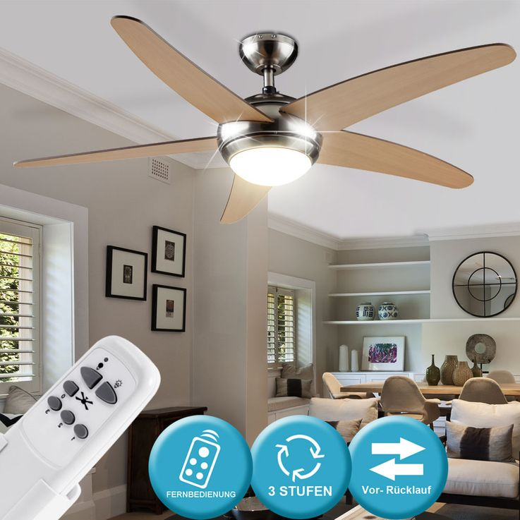 Cover fan with lighting remote control 3 stages Maple metal glass Globo 0306A – Bild 2
