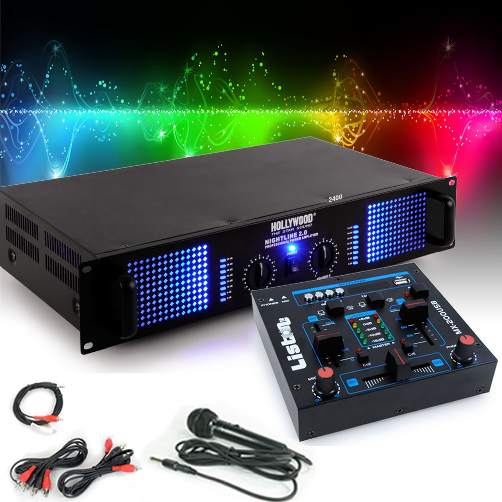 Pa Extension System 2400w Amplifier Mp3 Usb Mixer Karaoke Microphone Kabel Power 8 Awg Hollywood 1x Nightline 20 2400