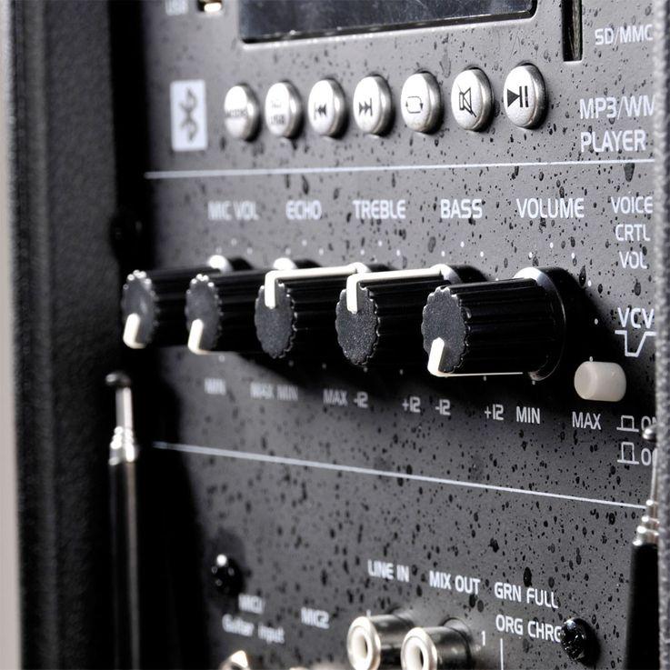 Mobile Beschallungsanlage 600 Watt Lautsprecher Mikrofon Fernbedienung Bluetooth PORT225VHF-BT – Bild 8