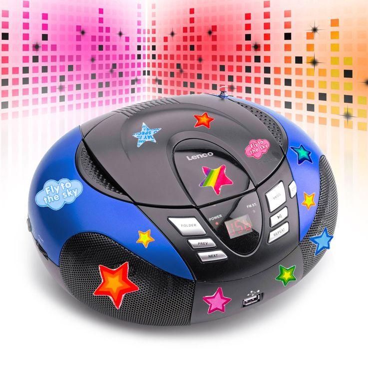 Tragbarer CD-Player UKW MW Radio Tuner MP3 WMA USB mit Sternchen Sticker – Bild 2