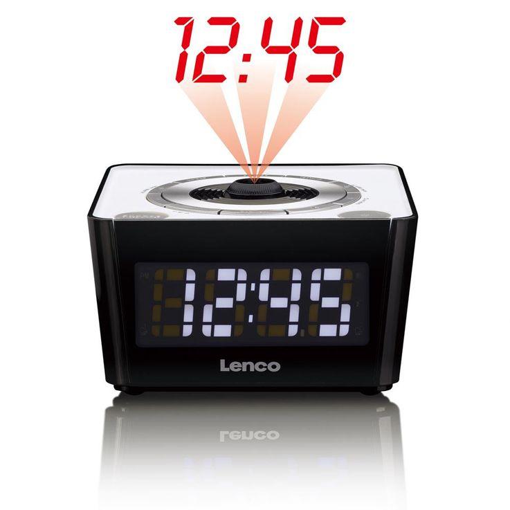 Réveil radio FM noir horloge tuner écran DEL variateur projection rouge heure – Bild 1