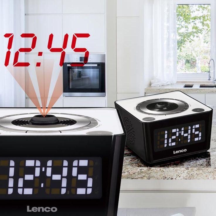 Réveil radio FM noir horloge tuner écran DEL variateur projection rouge heure – Bild 2
