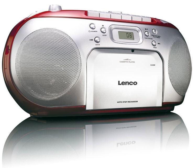 Stereo music sound audio FM radio system CD players portable cassette player Lenco SCD-42 Red – Bild 1