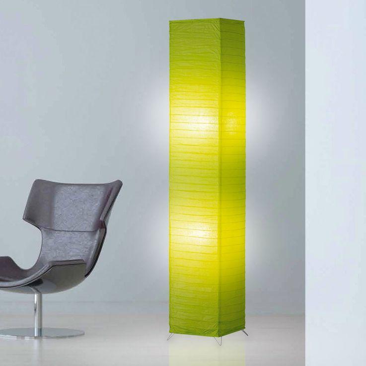 Lampadaire papier luminaire sur pied interrupteur vert salle de séjour éclairage – Bild 2
