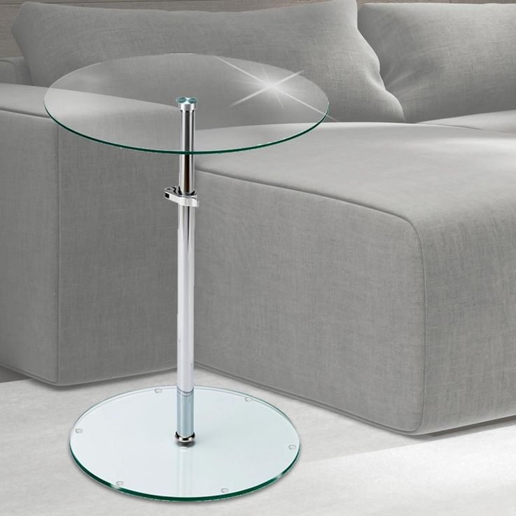Table clear glass plate around living room stand shelf surface height adjustable BHP B402124 – Bild 2