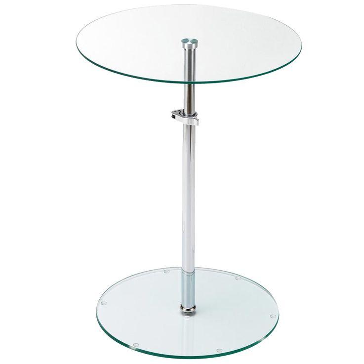 Tisch Klar Glas Platte rund Wohn Zimmer  Beistell Ablage Fläche höhenverstellbar BHP B402124 – Bild 1