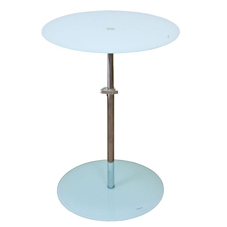 Side table height adjustable living room dining room glass shelf round chrome BHP B402124-3 – Bild 1