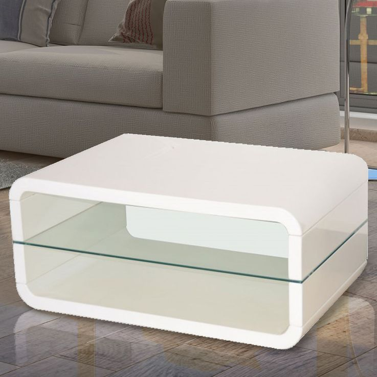 Coffee table FONDA MDF high gloss white lacquered safety glass incl. 4 castors – Bild 2
