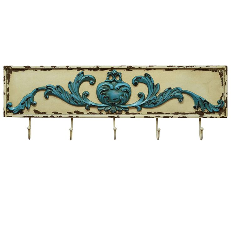 Country style wall wardrobe clothes hook wood white blue living room decoration  BHP B990833 – Bild 1