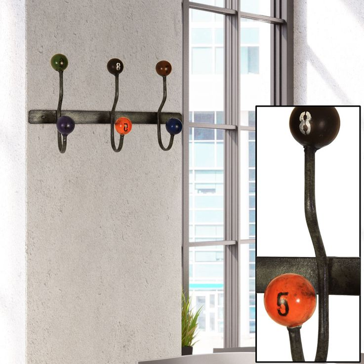 Design metal wall wardrobe 3 hooks clothes stand blue red black ball  BHP B990851 – Bild 2