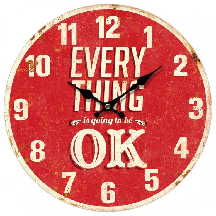 Vintage Wand Uhr Küchen Everything OK Deko Design Aufdruck Analog Zeit Zeiger Anzeige rot BHP 991433 – Bild 1