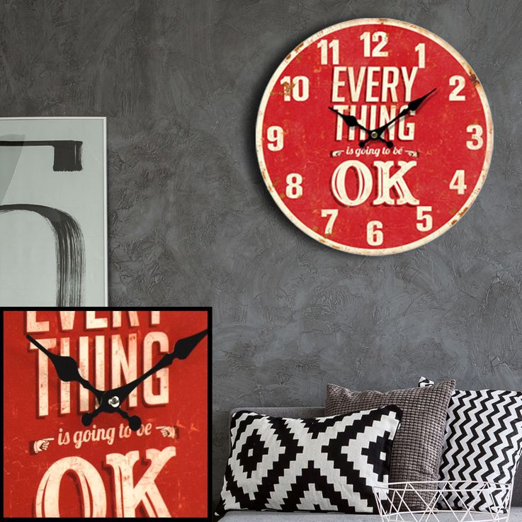 Vintage Wand Uhr Küchen Everything OK Deko Design Aufdruck Analog Zeit Zeiger Anzeige rot BHP 991433 – Bild 4