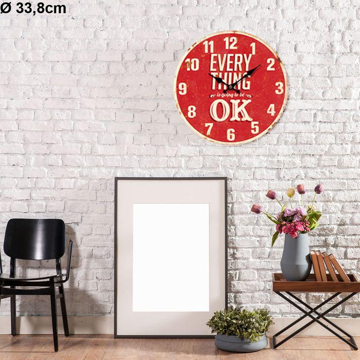 Vintage Wand Uhr Küchen Everything OK Deko Design Aufdruck Analog Zeit Zeiger Anzeige rot BHP 991433 – Bild 3