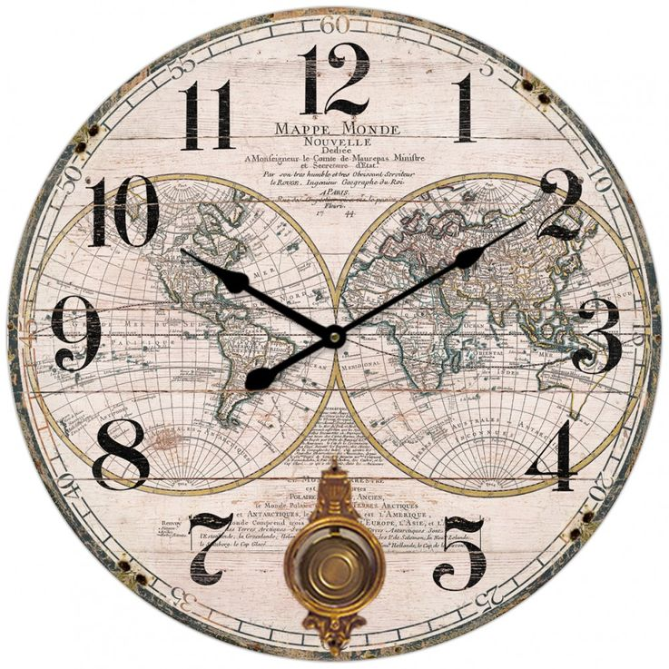 Design wall clock world map map world continent numbers numerals MDF round BHP B991434 – Bild 1