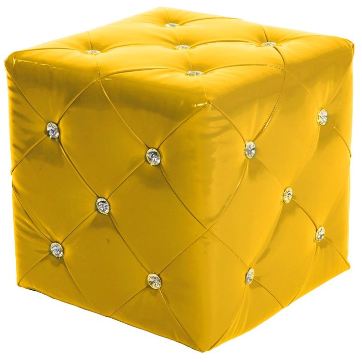 Design Seat Furniture Stool Rhinestones Yellow Couch Armchair Synthetic Leather MDF Decoration BHP B413018  -13 – Bild 1