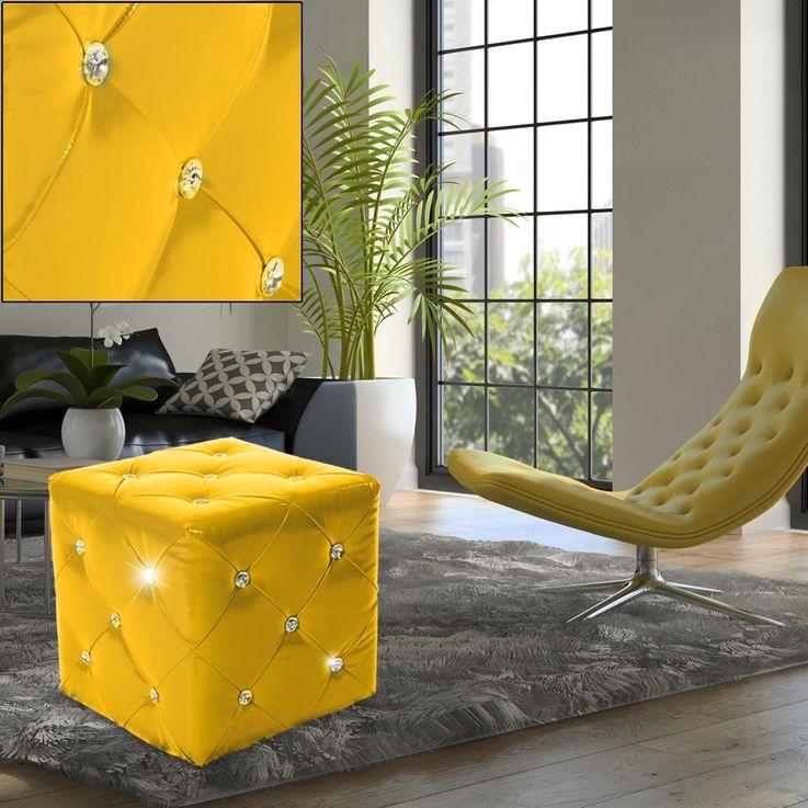 Design Sitz Mobiliar Hocker Strass Steine gelb Couch Sessel Kunstleder MDF Dekoration BHP B413018-13 – Bild 2