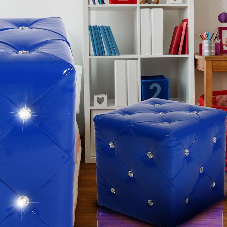 Seat stool cube decorative piece of furniture leather look quilted blue decorative rhinestones – Bild 3
