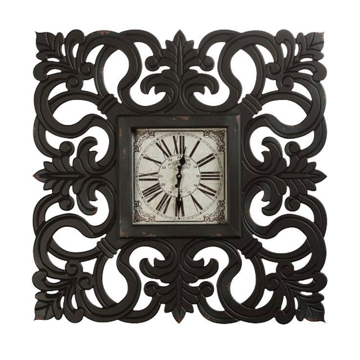 Vintage Wand Uhr schwarz römisches Ziffernblatt Zeiger Zeit Anzeige MDF BHP B991430-4 – Bild 1