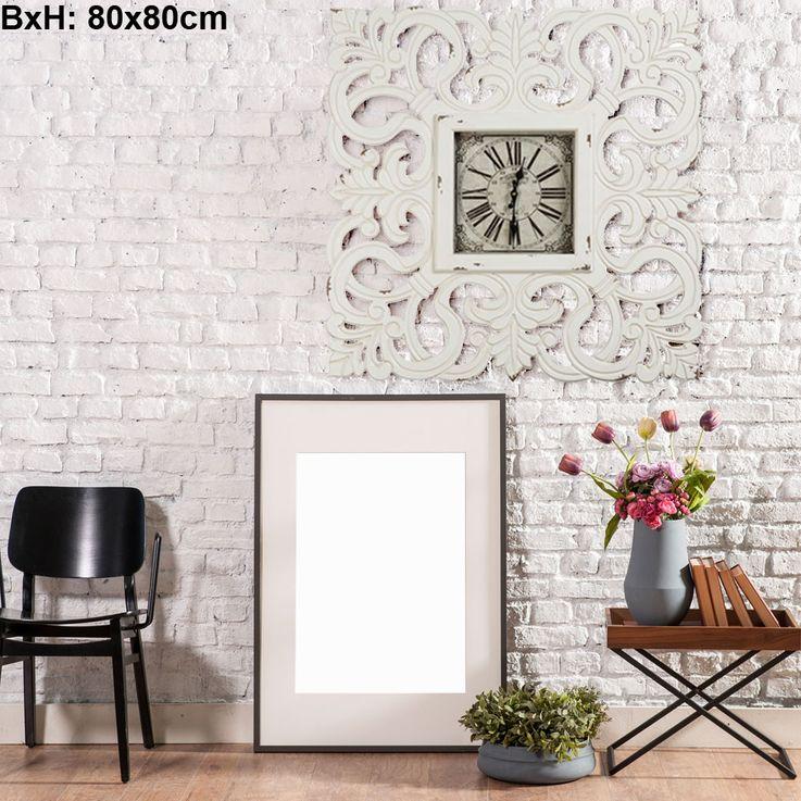Vintage Wand Uhr weiss römisches Ziffernblatt Zeiger Zeit Anzeige MDF BHP B991430-4 – Bild 3