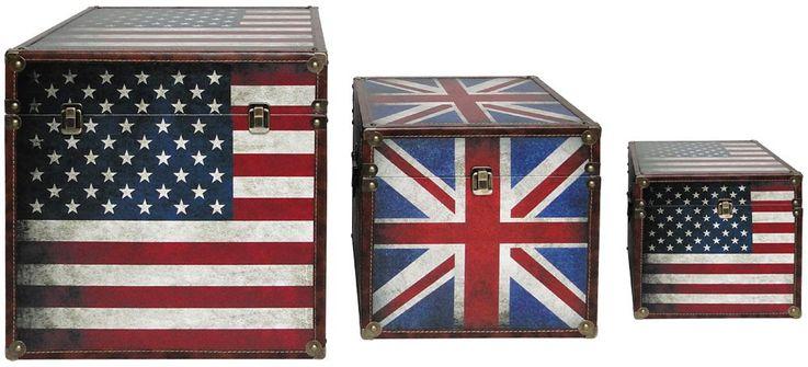 Boxenset 3-teilig Flaggen USA GB Boxen Aufbewahrung Spannverschluss stapelbar BHP B990096 – Bild 1