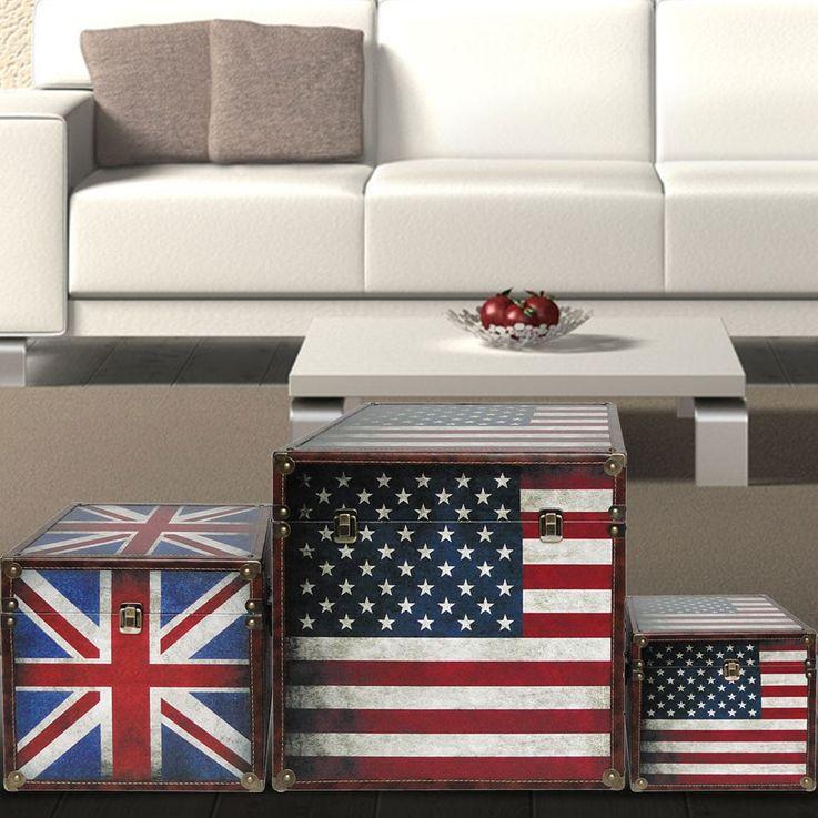Boxenset 3-teilig Flaggen USA GB Boxen Aufbewahrung Spannverschluss stapelbar BHP B990096 – Bild 2