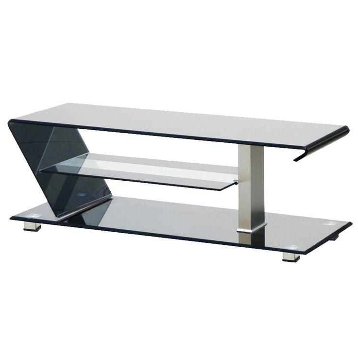 TV Tisch 3 Ablagen Fernseh Regal Sicherheits Glas ALU Lowboard Hifi Möbel schwarz BHP B1503047 – Bild 1