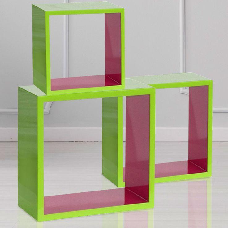Design Regal 3 teilig MDF hellgrün hochglanz pink Mädchen Dekoration Wohn Zimmer BHP B421566-2212 – Bild 2