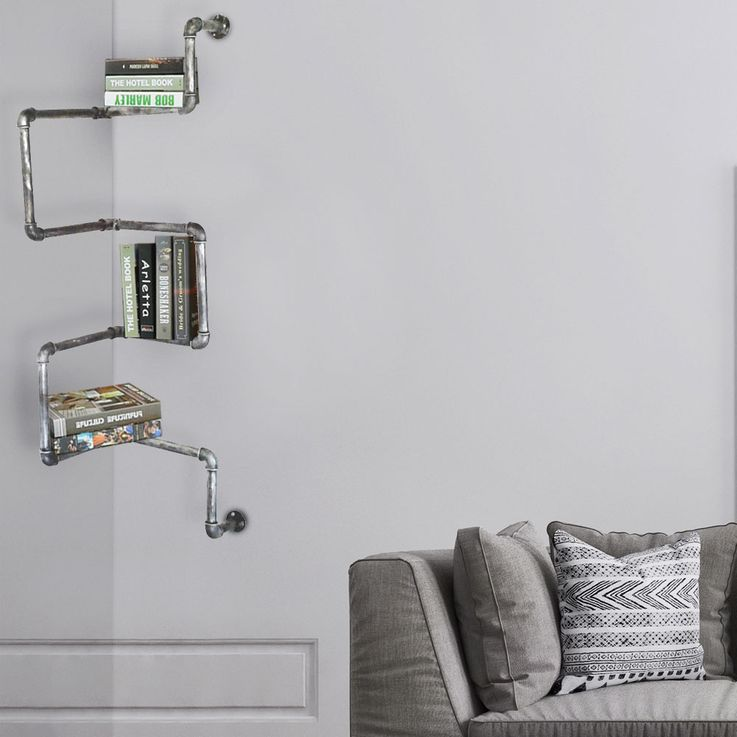 Vintage wall bookshelf made of metal pipes – Bild 2