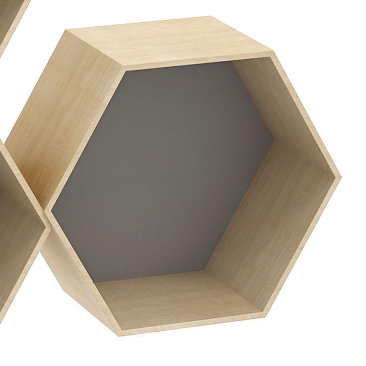 3er Set Wand Regale Wohn Ess Zimmer Sechseck Holz Hänge Waben Aufbewahrung natur grau BHP B991464 – Bild 3