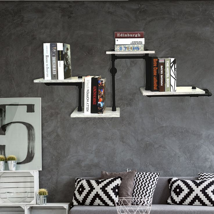 Books shelf living room wall levels form storage area metal tubes concrete slide design BHP B991413 – Bild 2