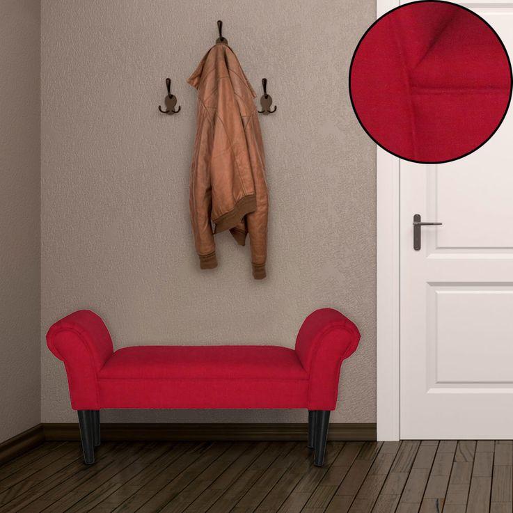 Siège banc accoudoirs meubles invités dormir chambre tissu tabouret pieds en bois rouge sellerie BHP B412459-5 – Bild 2