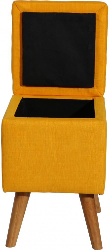 sitzhocker spring inkl stauraum stoff gelb holzf e ebay. Black Bedroom Furniture Sets. Home Design Ideas