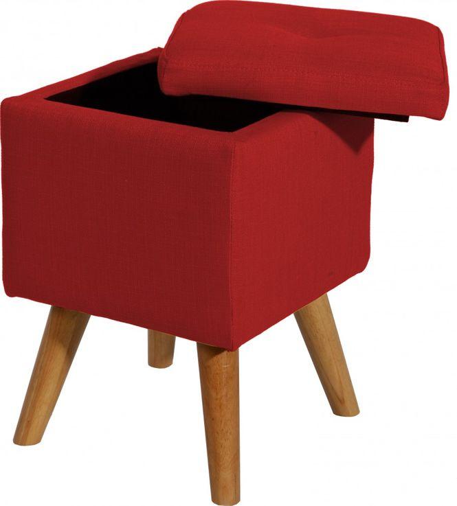 Sitzhocker Spring inkl. Stauraum Stoff rot Holzfüße – Bild 6