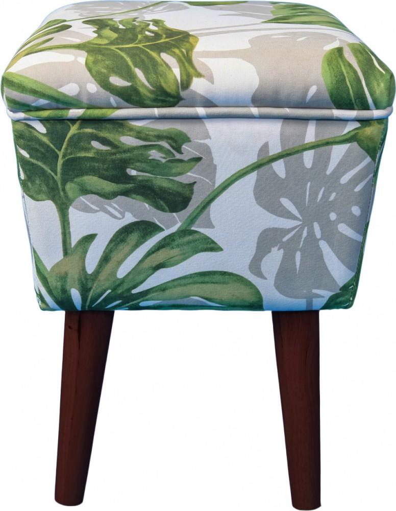 Sitzhocker eckig Stoff grün gemustert Holzfüße