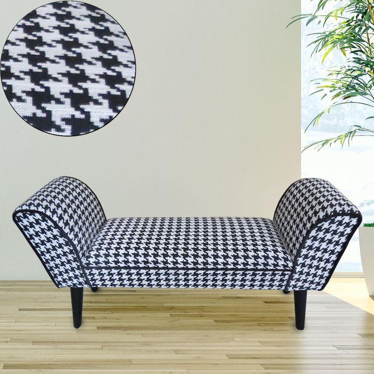 Seat bench armrests Upholstery furniture black white checkered textile sofa stool birch wood  BHP B412604 – Bild 2