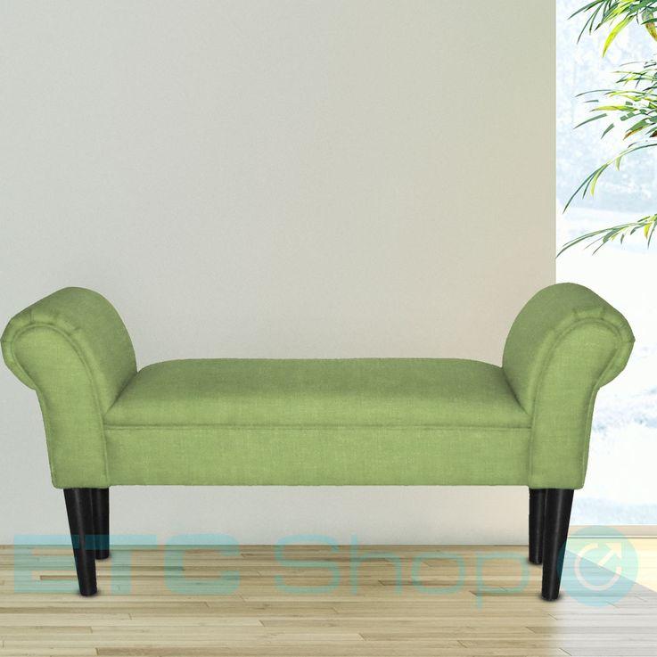 Sitz Bank Armlehnen Wohn Schlaf Zimmer Hocker Holzfüße schwarz Textil Polster grün BHP B412459-11 – Bild 3