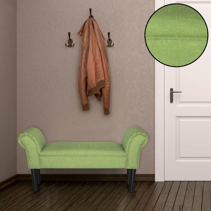 Sitz Bank Armlehnen Wohn Schlaf Zimmer Hocker Holzfüße schwarz Textil Polster grün BHP B412459-11 – Bild 2