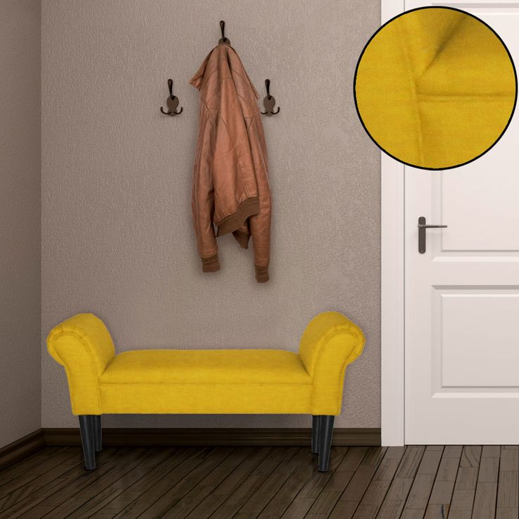 Vintage Seat Furniture Bench Upholstery Textile Armrests Living Room Side Stool Yellow BHP B412459-13 – Bild 2