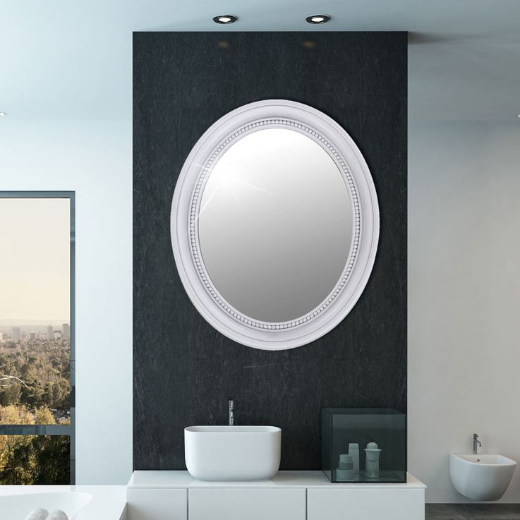 Wall mirror oval bath room baroque antique frame white ornaments hall decoration BHP B991486-3 – Bild 2