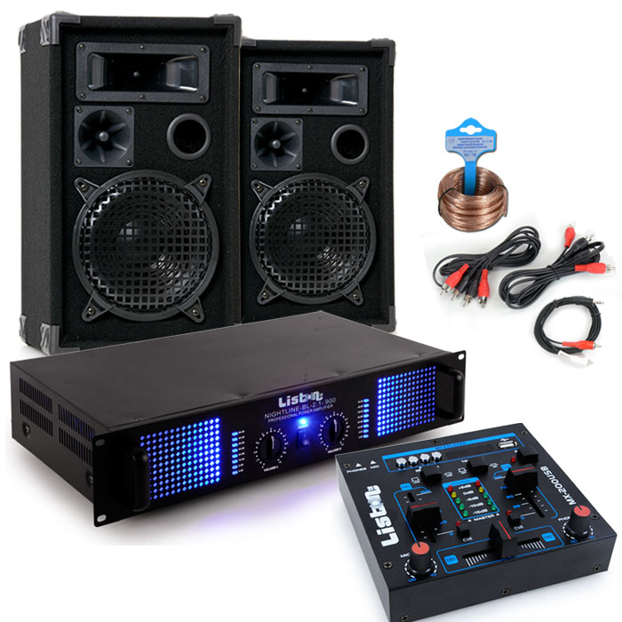 2400 Watt PA compact music system amplifier boxes USB MP3 mixer DJ-Party 7 – Bild 1