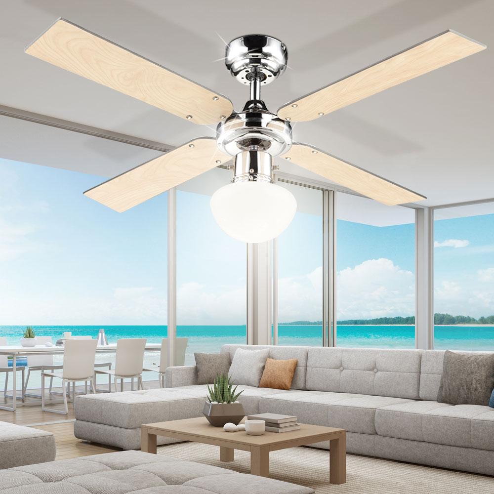 led design graphit ahorn decken l fter beleuchtung ventilator lampe ess zimmer ebay. Black Bedroom Furniture Sets. Home Design Ideas