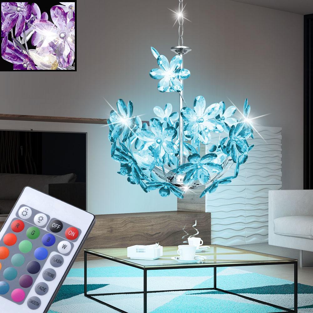 RGB LED Glas Decken Lampe rund Wohn Zimmer Leuchte Blätter Muster FERNBEDIENUNG
