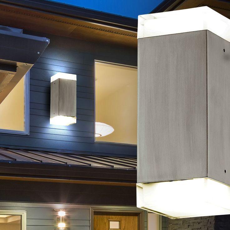5 Watt LED Außen Wand Lampe Edelstahl Terrasse Garagen Beleuchtung IP44 EEK A+ Eglo 78055 – Bild 4