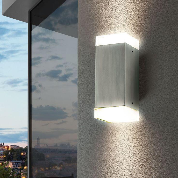 5 Watt LED Außen Wand Lampe Edelstahl Terrasse Garagen Beleuchtung IP44 EEK A+ Eglo 78055 – Bild 5