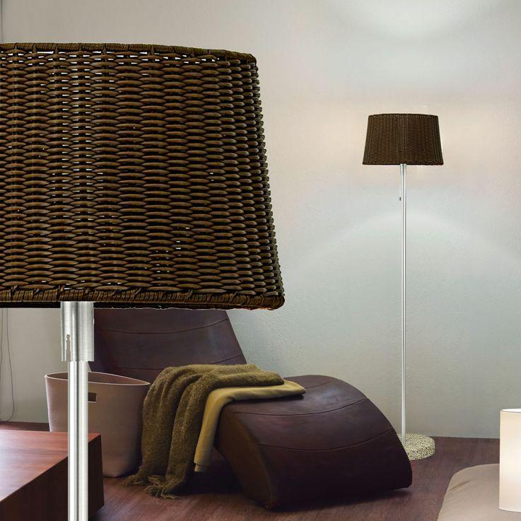 Außen Leuchte Steh Lampe Garten ALU Korbgeflecht Design Strahler Marmor Sockel dunkelbraun Eglo 88082 – Bild 7