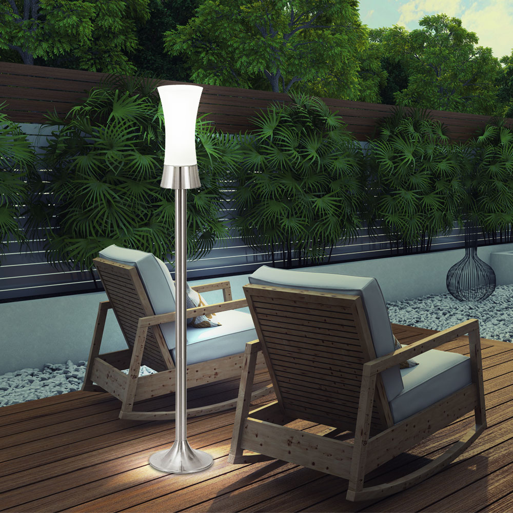 2x lampadaire ext rieur jardin terrasse inox verre. Black Bedroom Furniture Sets. Home Design Ideas