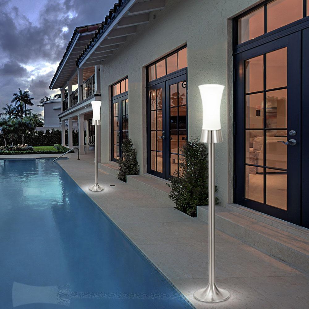 2x lampadaire ext rieur jardin terrasse inox verre. Black Bedroom Furniture Sets. Home Design Ideas